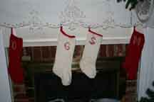 Four of the six stockings I knitted.